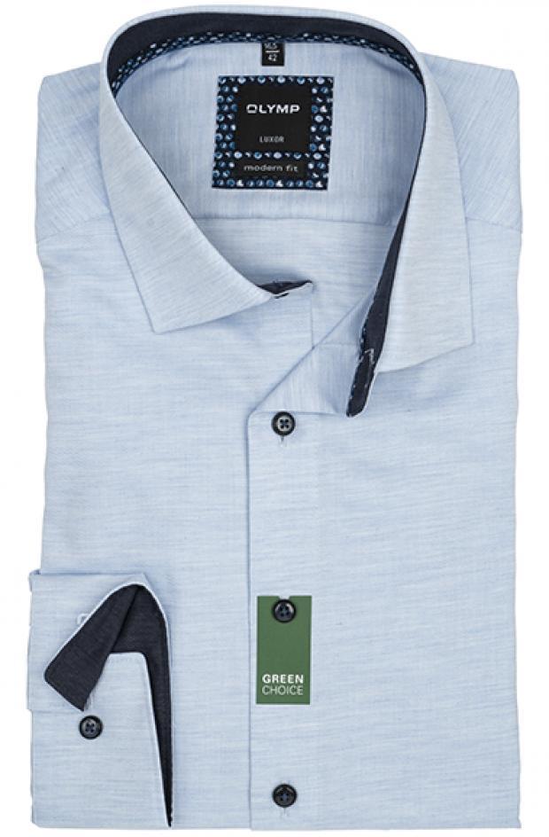 OLYMP vasalásmentes férfi ing karcsúsított hosszított ujjú világoskék anyagában átlós csíkos