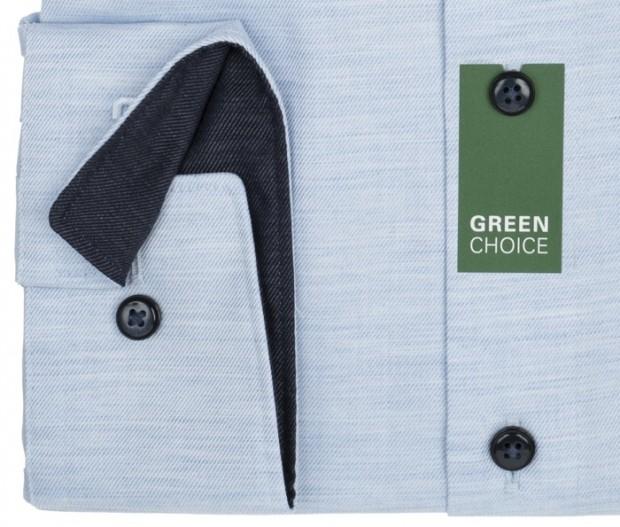 OLYMP vasalásmentes férfi ing karcsúsított hosszított ujjú világoskék anyagában átlós csíkos - mandzsetta