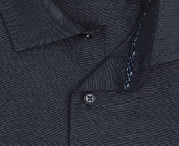 OLYMP vasalásmentes férfi ing karcsúsított hosszított ujjú sötétkék anyagában átlós csíkos - gallér