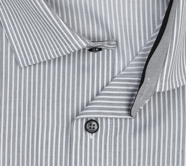 OLYMP vasalásmentes férfi ing karcsúsított rövidített ujjú - szürke csíkos - gallér