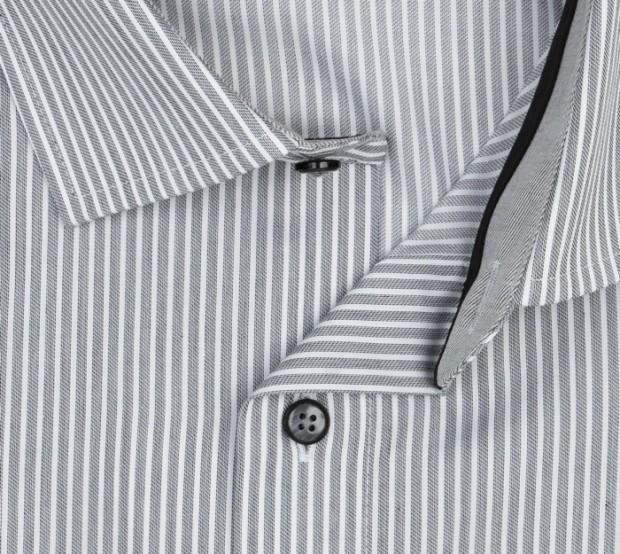 OLYMP vasalásmentes férfi ing karcsúsított hosszított ujjú szürke csíkos - gallér