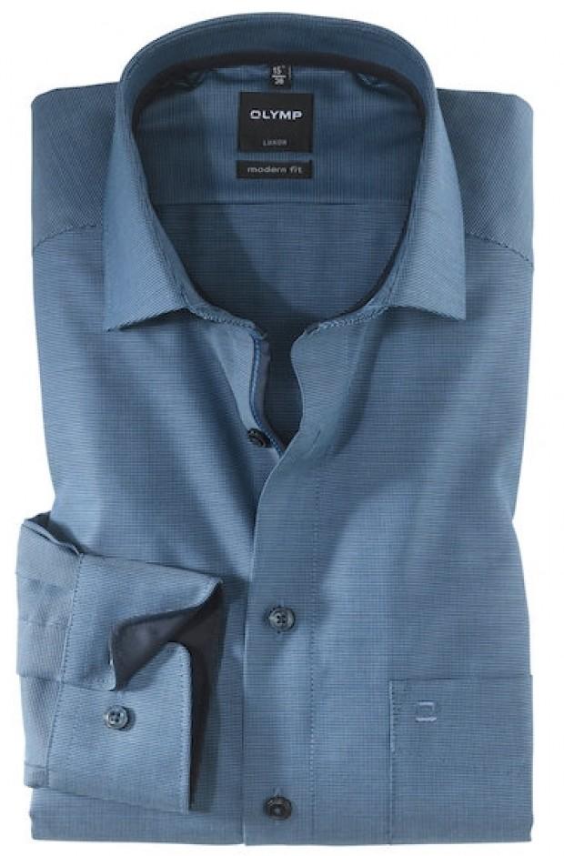 OLYMP vasalásmentes férfi ing karcsúsított kék-sötétkék mintás hosszított ujjú