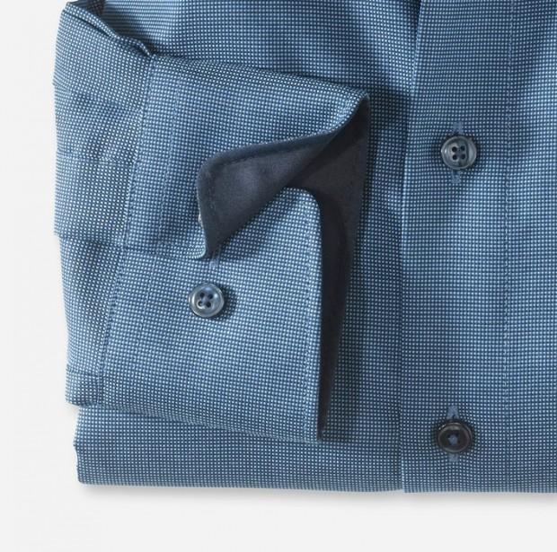 OLYMP vasalásmentes férfi ing karcsúsított kék-sötétkék mintás hosszított ujjú - mandzsetta
