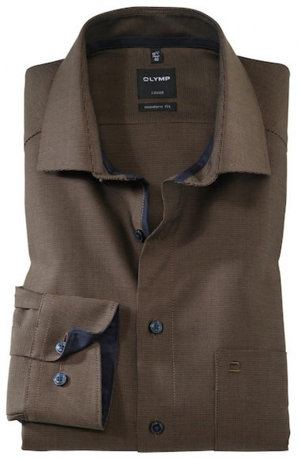 OLYMP vasalásmentes férfi ing karcsúsított barna-sötétbarna mintás