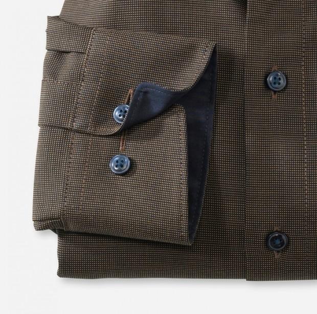 OLYMP vasalásmentes férfi ing karcsúsított barna-sötétbarna mintás - mandzsetta