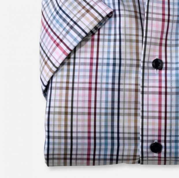 OLYMP vasalásmentes férfi ing karcsúsított mintás rövid ujjú színes kockás - ujj