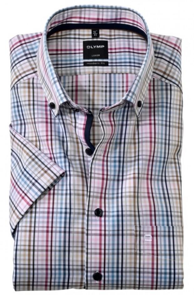 OLYMP vasalásmentes férfi ing karcsúsított mintás rövid ujjú színes kockás