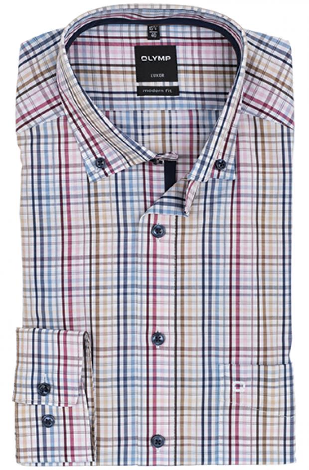 OLYMP vasalásmentes férfi ing karcsúsított színes kockás
