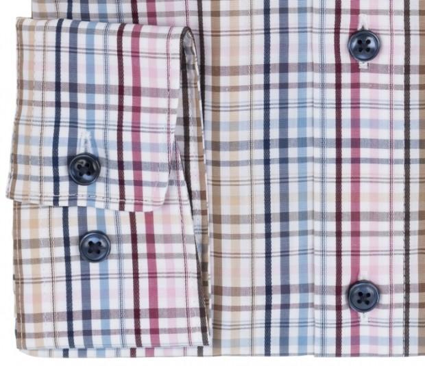 OLYMP vasalásmentes férfi ing karcsúsított színes kockás - mandzsetta