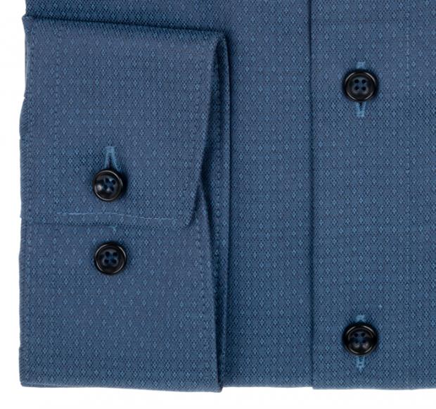 OLYMP vasalásmentes férfi ing karcsúsított szürkéskék mintás - mandzsetta