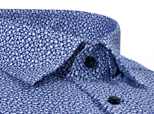 OLYMP vasalásmentes férfi ing karcsúsított sötétkék virágmintás rövid ujjú - gallér