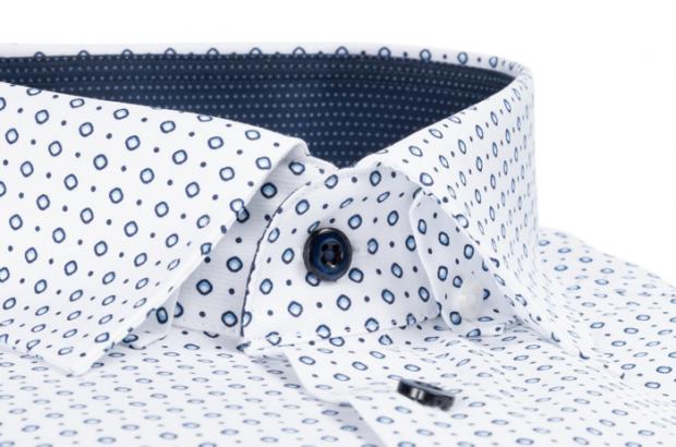 OLYMP vasalásmentes férfi ing karcsúsított fehér-kék mintás (fényes, kék gombok) - gallér
