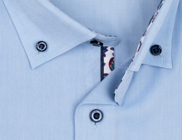 OLYMP vasalásmentes férfi ing karcsúsított kék - legombolt gallér