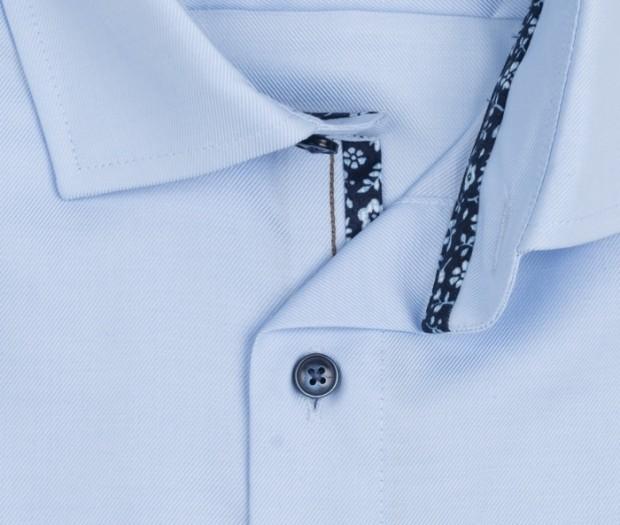 OLYMP vasalásmentes férfi ing karcsúsított rövidített ujjú - világoskék átlós csíkos - gallér