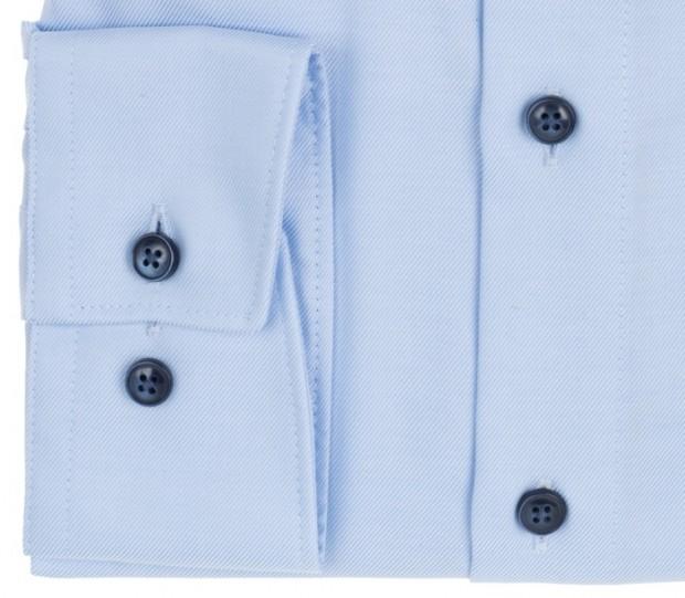 OLYMP vasalásmentes férfi ing karcsúsított hosszított ujjú világoskék átlós csíkos - mandzsetta
