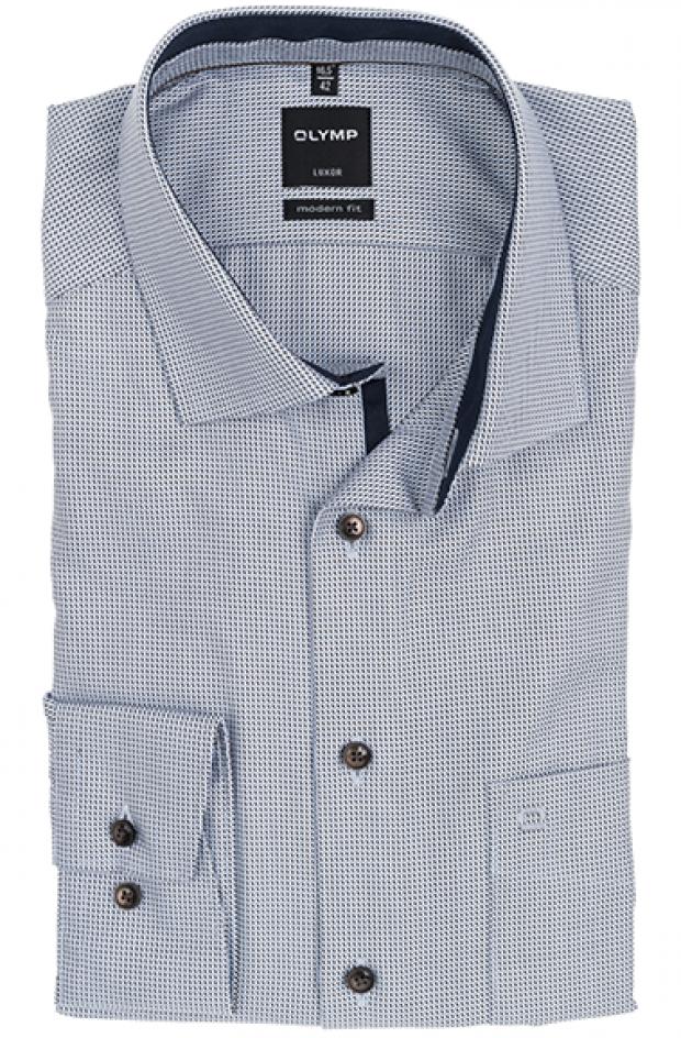 OLYMP vasalásmentes férfi ing karcsúsított rövidített ujjú világoskék-barna mintás