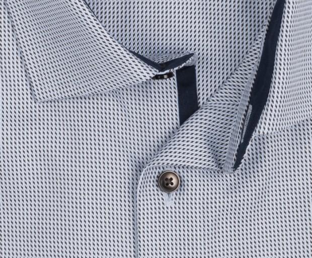 OLYMP vasalásmentes férfi ing karcsúsított világoskék-barna mintás - gallér