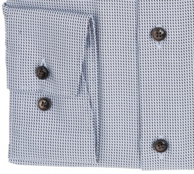 OLYMP vasalásmentes férfi ing karcsúsított rövidített ujjú világoskék-barna mintás - mandzsetta