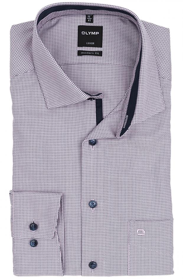 OLYMP vasalásmentes férfi ing karcsúsított rózsaszín-sötétkék mintás
