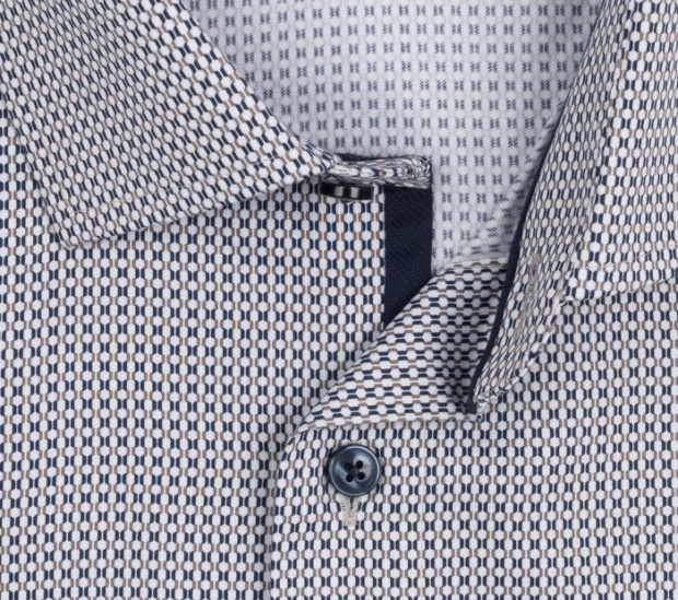 OLYMP vasalásmentes férfi ing karcsúsított barna-sötétkék mintás - gallér