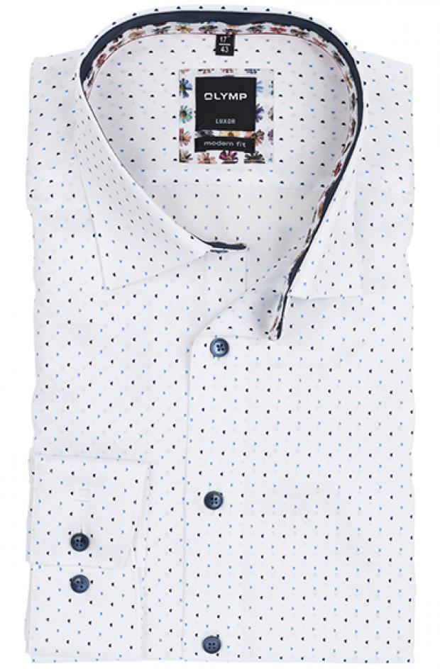 OLYMP vasalásmentes férfi ing karcsúsított kék-sötétkék mintás