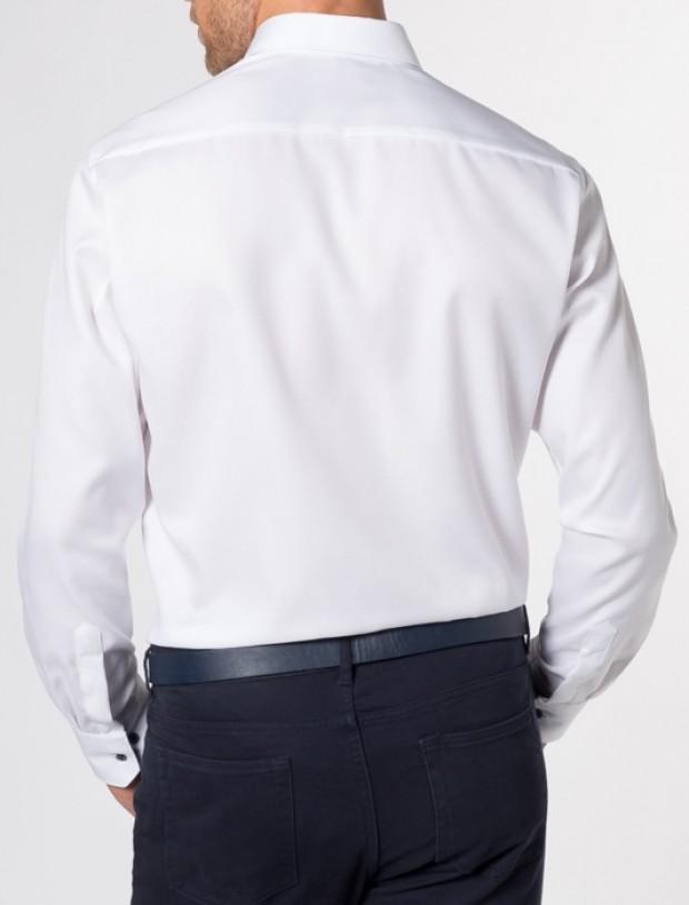 eterna vasalásmentes karcsúsított férfi ing fehér (kék gombok, legombolt gallér) - modell hát