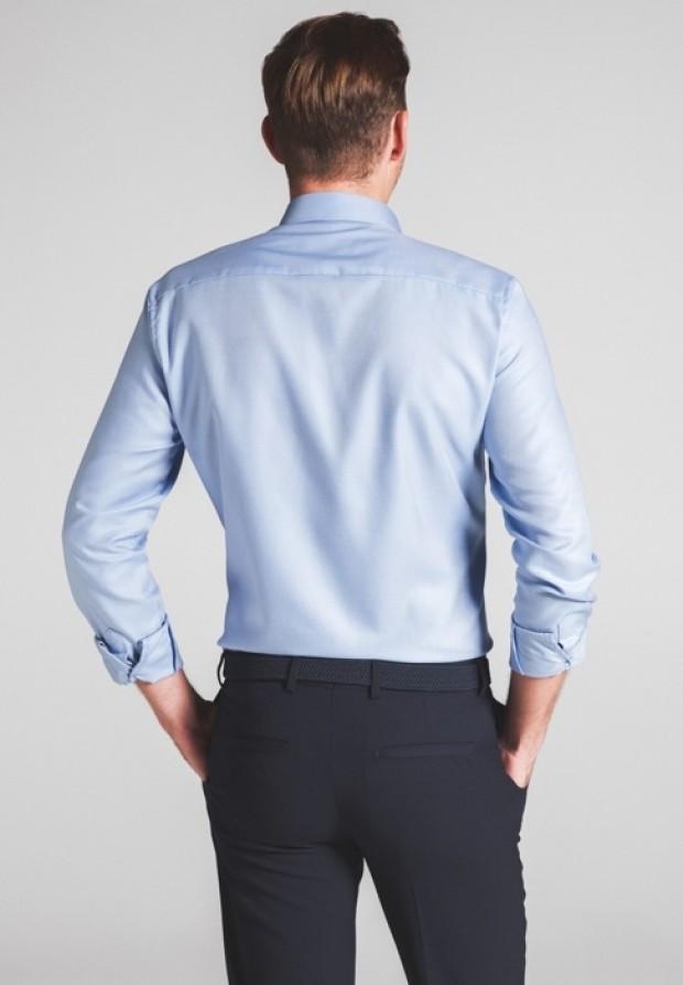 eterna vasalásmentes duplán karcsúsított férfi ing eterna vasalásmentes duplán karcsúsított férfi ing kék-világoskék anyagában mintás - hát