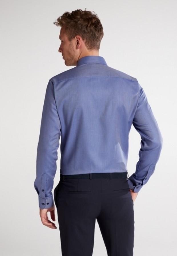 eterna vasalásmentes duplán karcsúsított férfi ing sötétkék anyagában mintás - modell hát