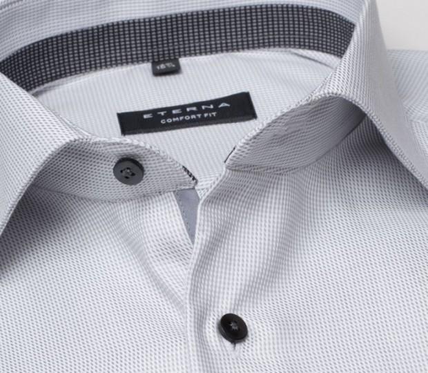 eterna vasalásmentes férfi ing szürke anyagában mintás - gallér