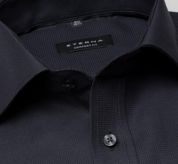 eterna vasalásmentes férfi ing sötétszürke anyagában mintás - gallér