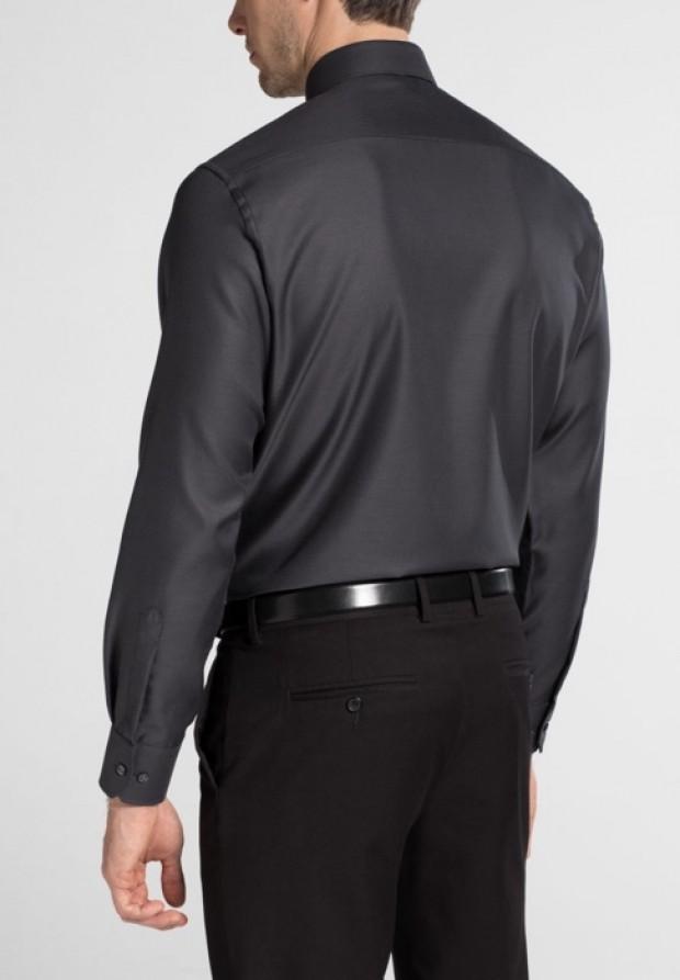 eterna vasalásmentes karcsúsított férfi ing sötétszürke anyagában mintás - hát