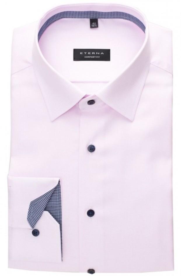 eterna vasalásmentes férfi ing rózsaszín anyagában mintás