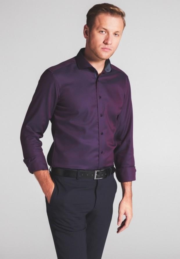 eterna vasalásmentes duplán karcsúsított férfi ing eterna vasalásmentes duplán karcsúsított férfi ing piros-sötétkék anyagában mintás - modell