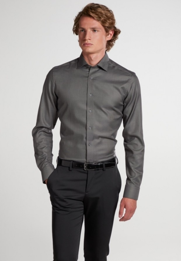 eterna vasalásmentes duplán karcsúsított férfi ing antracitszürke anyagában mintás - modell