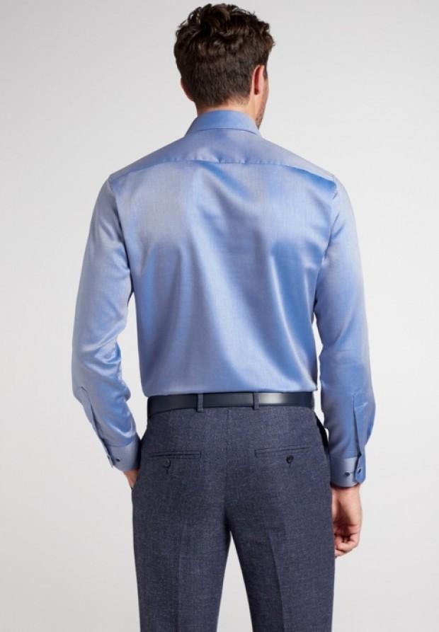 eterna vasalásmentes karcsúsított férfi ing kék anyagában csíkos - hát