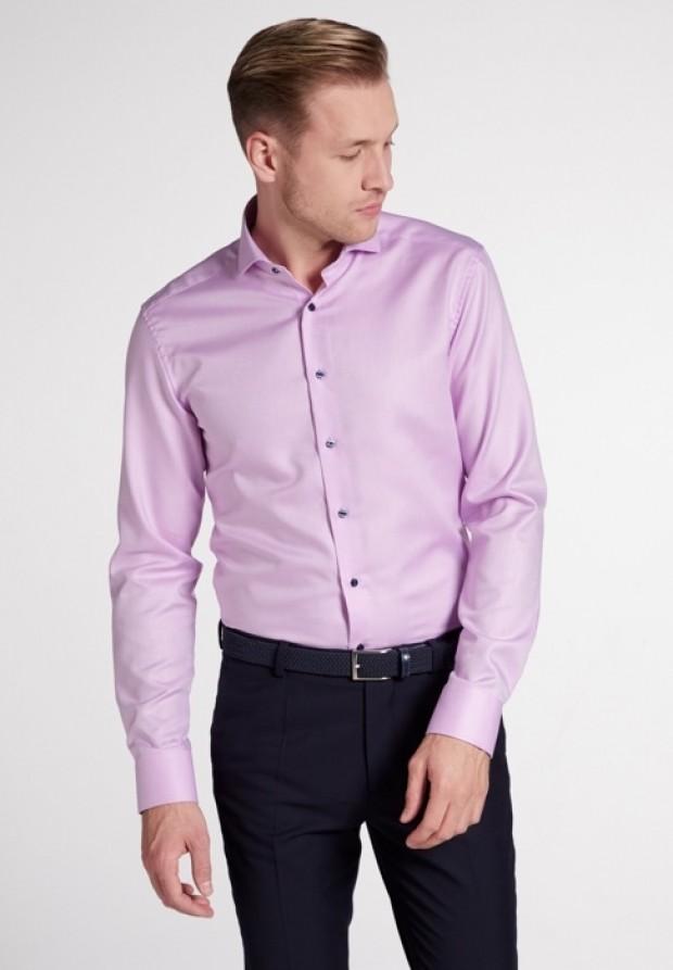 eterna vasalásmentes karcsúsított férfi ing lilás rózsaszín anyagában csíkos - modell