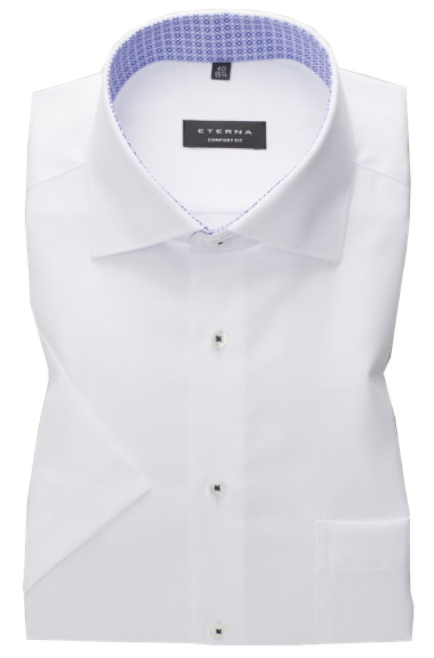 eterna vasalásmentes férfi ing rövid ujjú fehér anyagában mintás