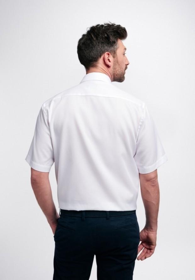 eterna vasalásmentes férfi ing rövid ujjú fehér anyagában mintás - hát