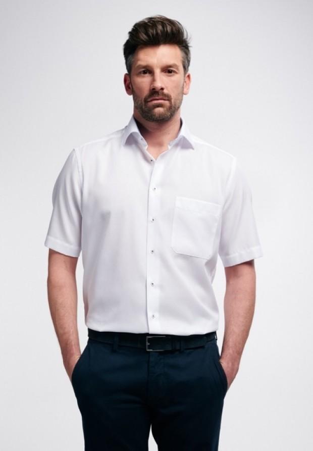 eterna vasalásmentes férfi ing rövid ujjú fehér anyagában mintás - modell