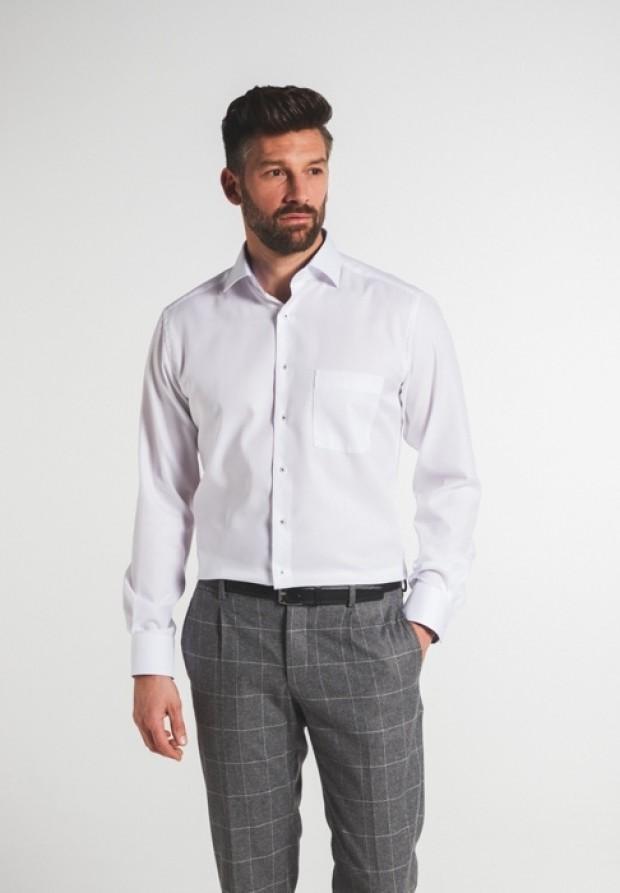 eterna vasalásmentes karcsúsított férfi ing fehér anyagában mintás - modell