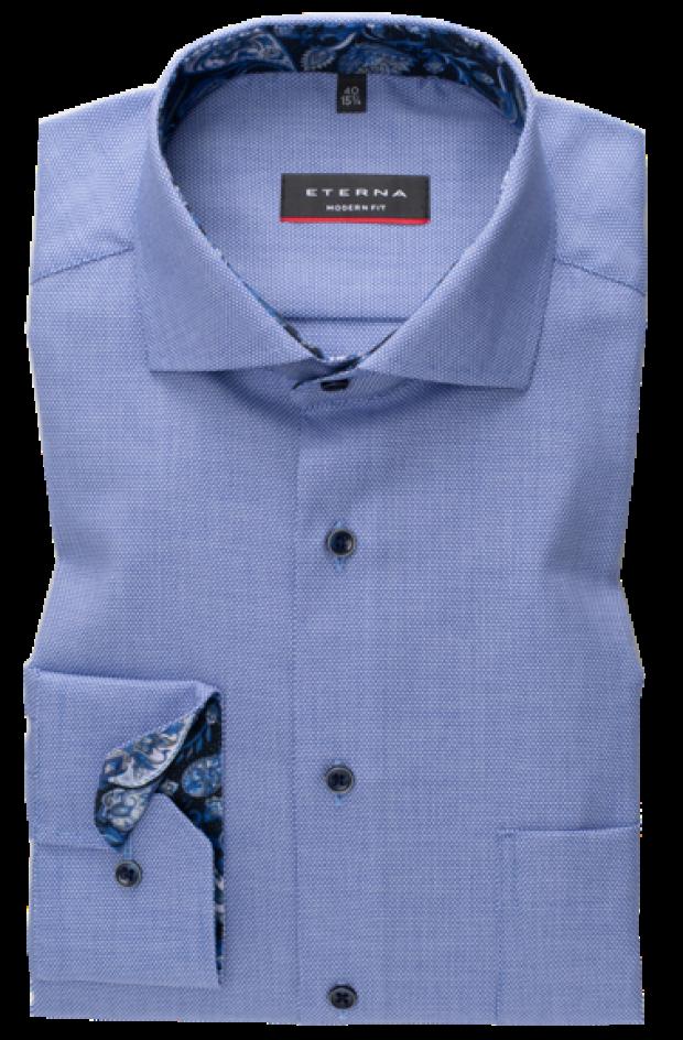 eterna vasalásmentes karcsúsított férfi ing kék anyagában mintás