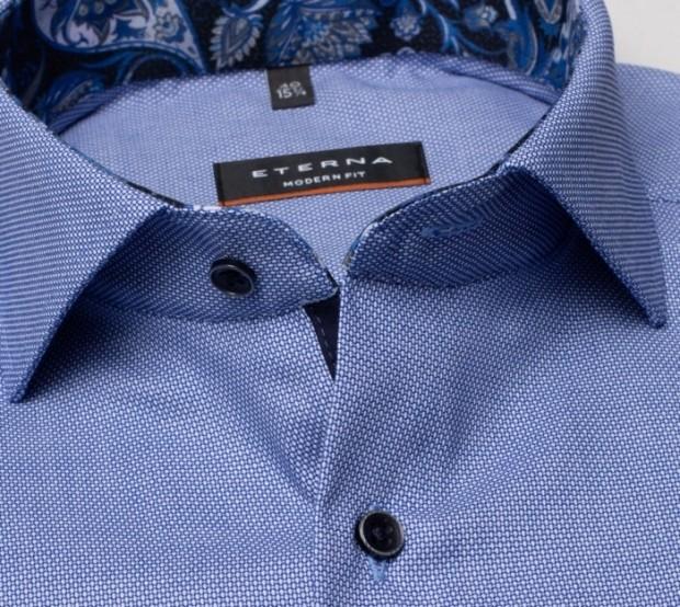 eterna vasalásmentes karcsúsított férfi ing kék anyagában mintás - gallér