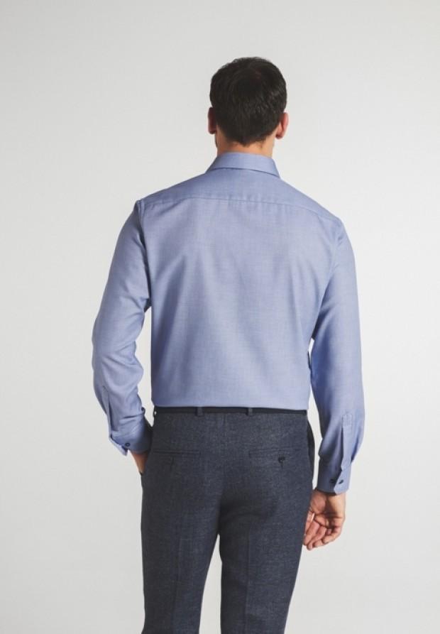 eterna vasalásmentes karcsúsított férfi ing kék anyagában mintás - hát