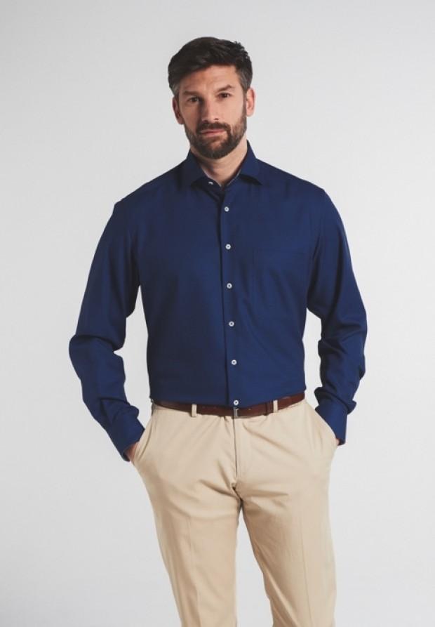 eterna vasalásmentes férfi ing sötétkék anyagában mintás - modell