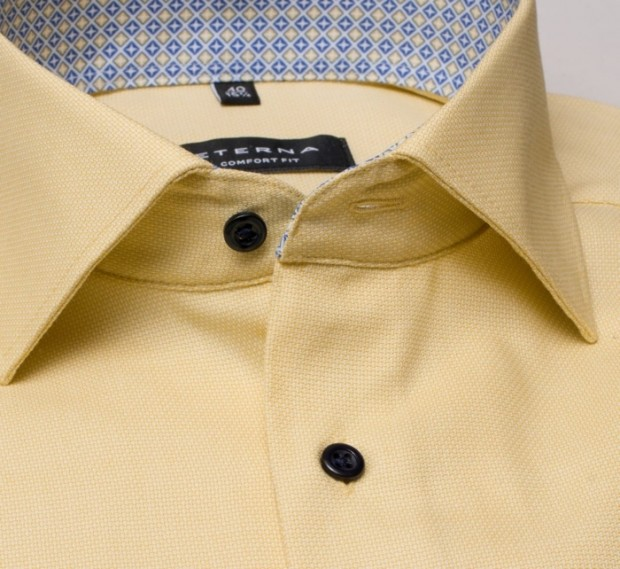 eterna vasalásmentes férfi ing rövid ujjú sárga anyagában mintás - gallér