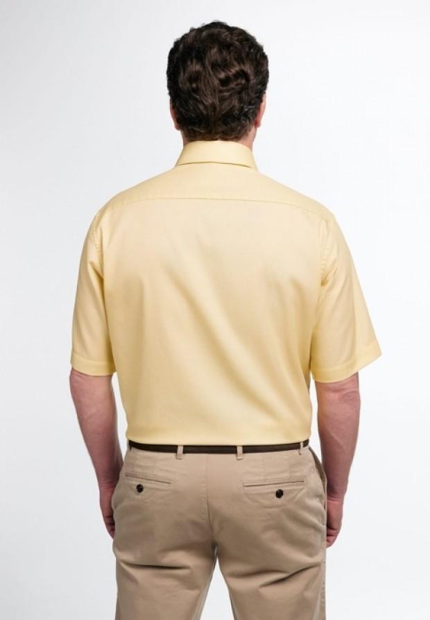 eterna vasalásmentes férfi ing rövid ujjú sárga anyagában mintás - hát