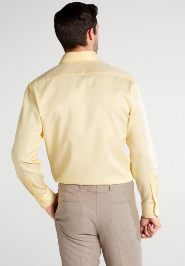 eterna vasalásmentes karcsúsított férfi ing vaníliasárga anyagában mintás - modell hát
