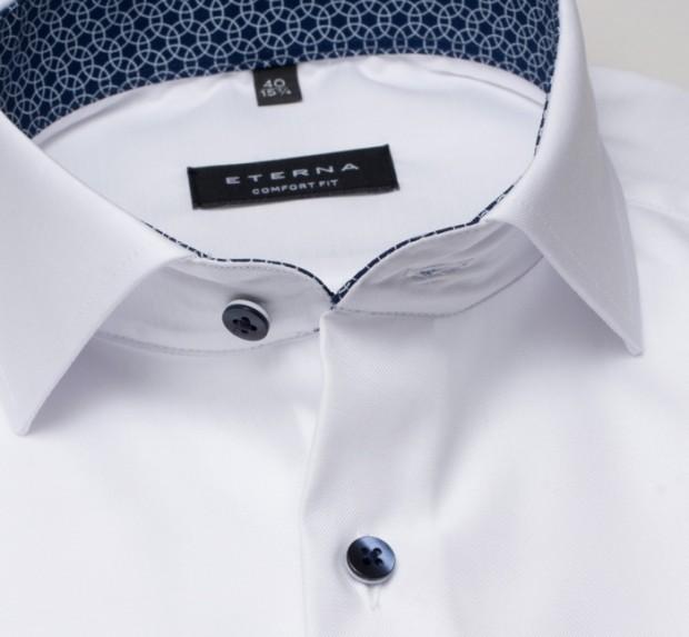 eterna vasalásmentes férfi ing rövid ujjú fehér - gallér