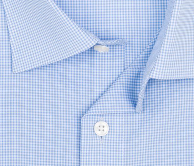 OLYMP vasalásmentes férfi ing karcsúsított kék kockás rövid ujjú - gallér