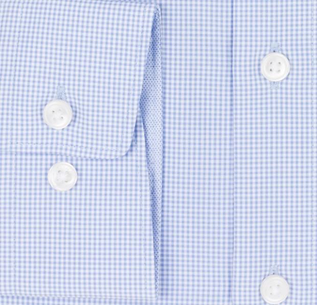 OLYMP vasalásmentes férfi ing kék apró kockás - mandzsetta